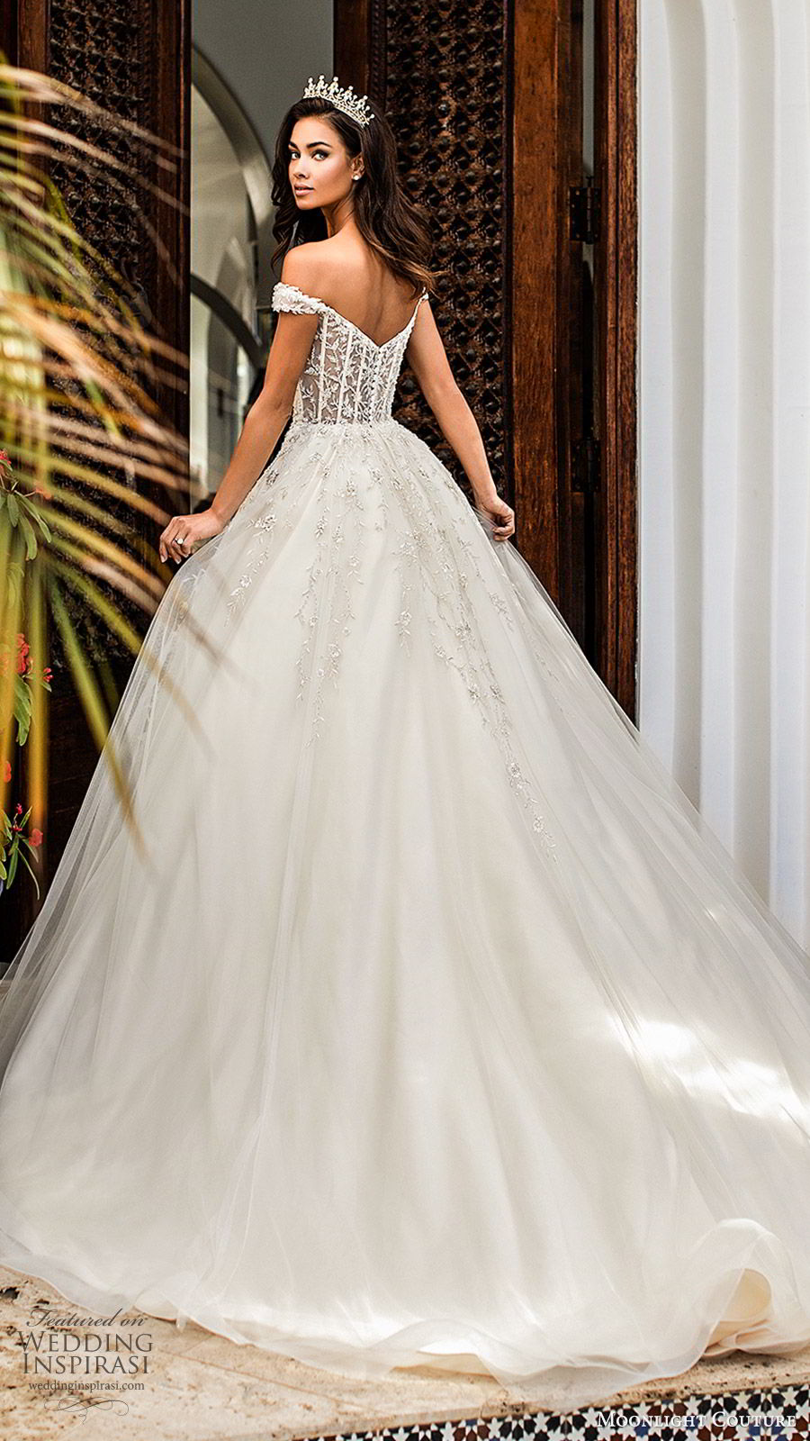 moonlight couture fall 2019 bridal off shoulder sweetheart embellished bodice a line ball gown wedding dress (7) princess romantic glitzy sheer back chapel train bv