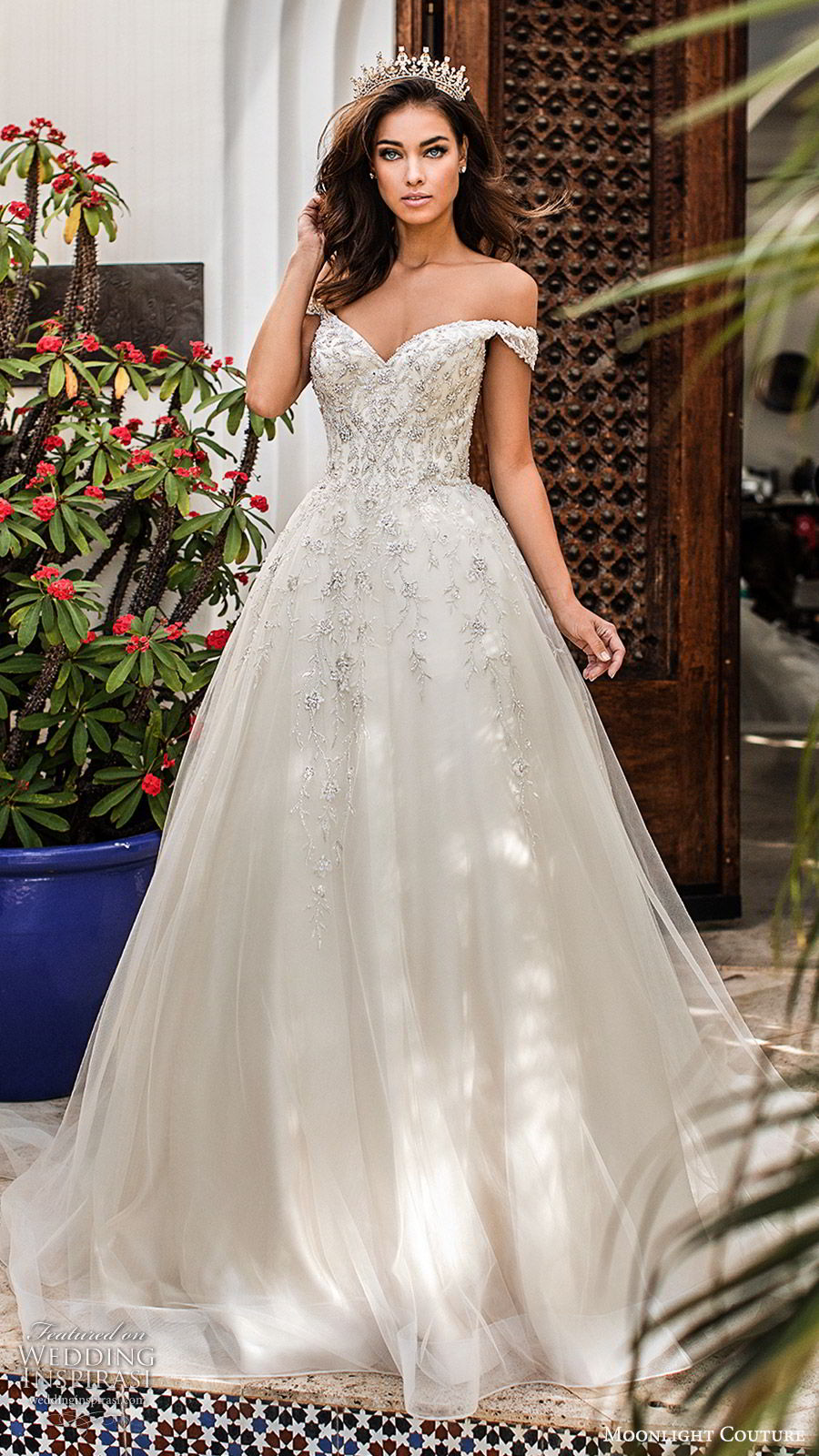 moonlight couture fall 2019 bridal off shoulder sweetheart embellished bodice a line ball gown wedding dress (7) princess romantic glitzy sheer back chapel train mv