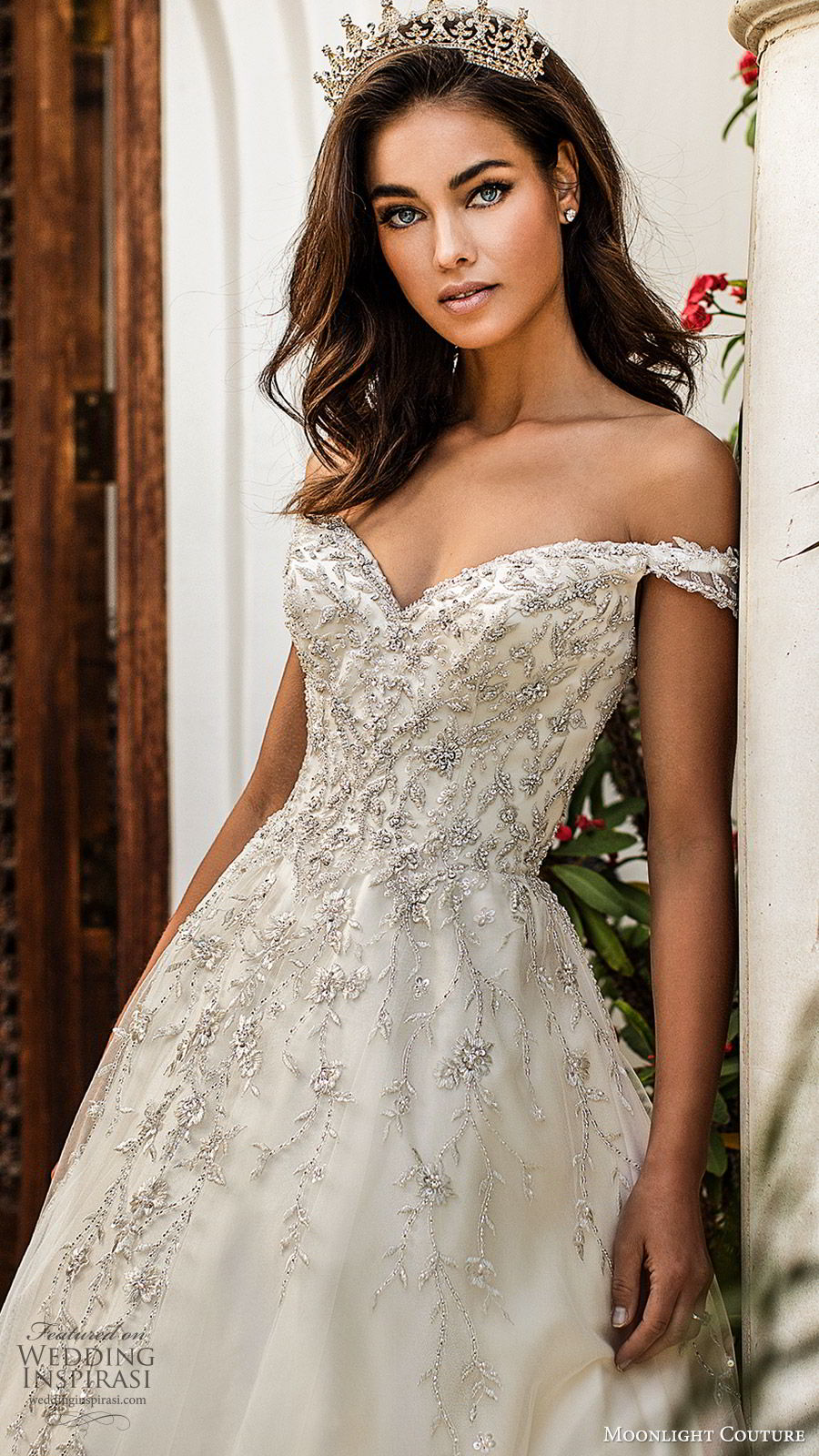moonlight couture fall 2019 bridal off shoulder sweetheart embellished bodice a line ball gown wedding dress (7) princess romantic glitzy sheer back chapel train zv