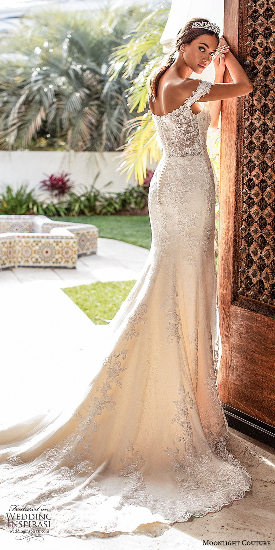 moonlight couture fall 2019 bridal off shoulder sweetheart neckline fully embellished lace mermaid sheath wedding dress (2) elegant glam romantic chapel train bv