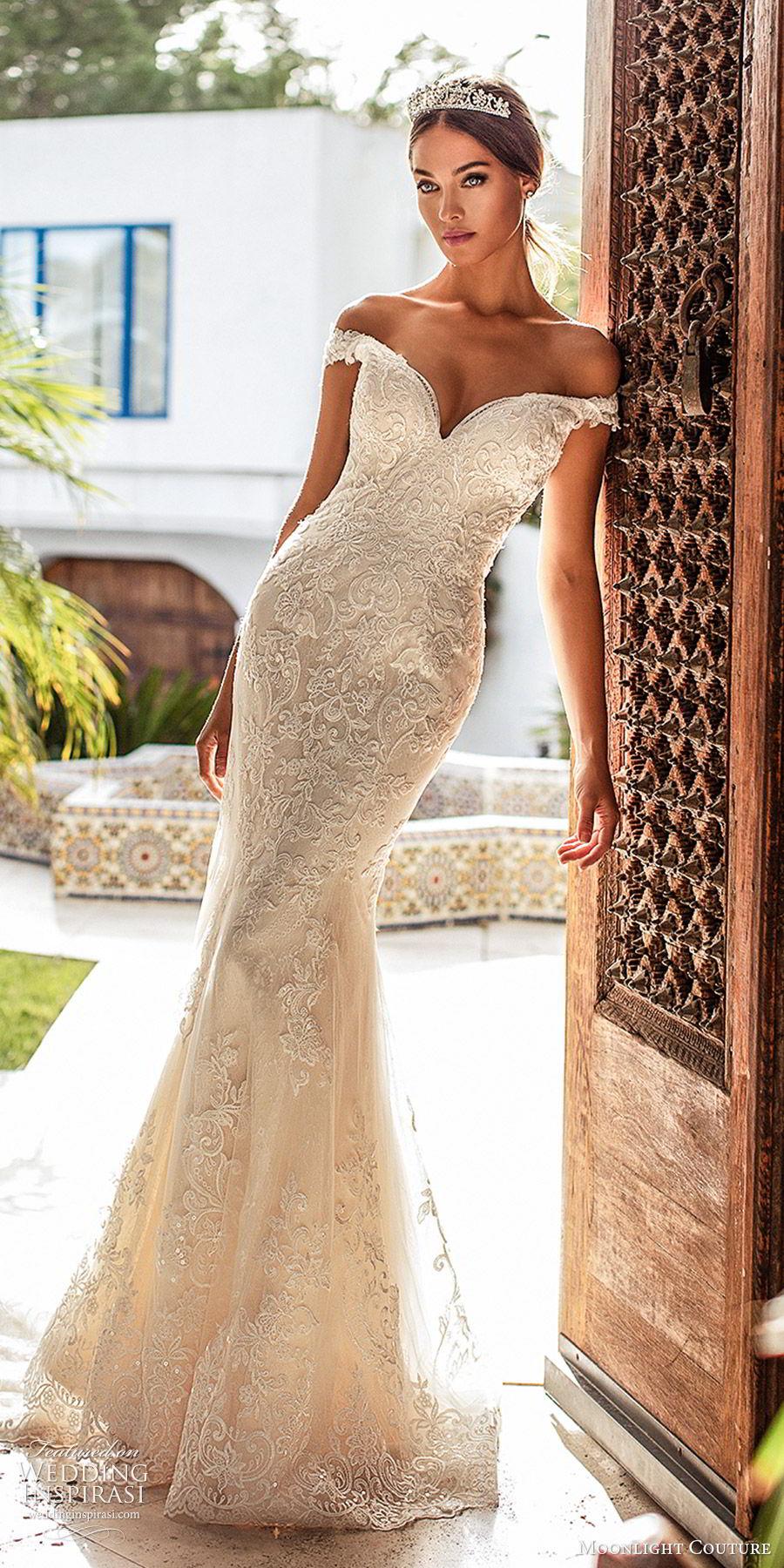moonlight couture fall 2019 bridal off shoulder sweetheart neckline fully embellished lace mermaid sheath wedding dress (2) elegant glam romantic chapel train mv