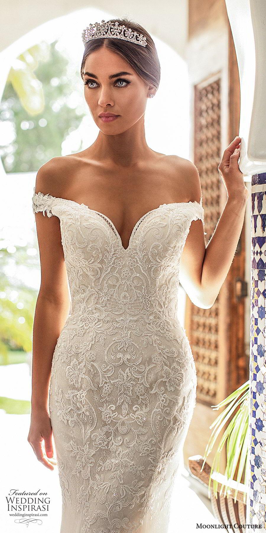 moonlight couture fall 2019 bridal off shoulder sweetheart neckline fully embellished lace mermaid sheath wedding dress (2) elegant glam romantic chapel train zv