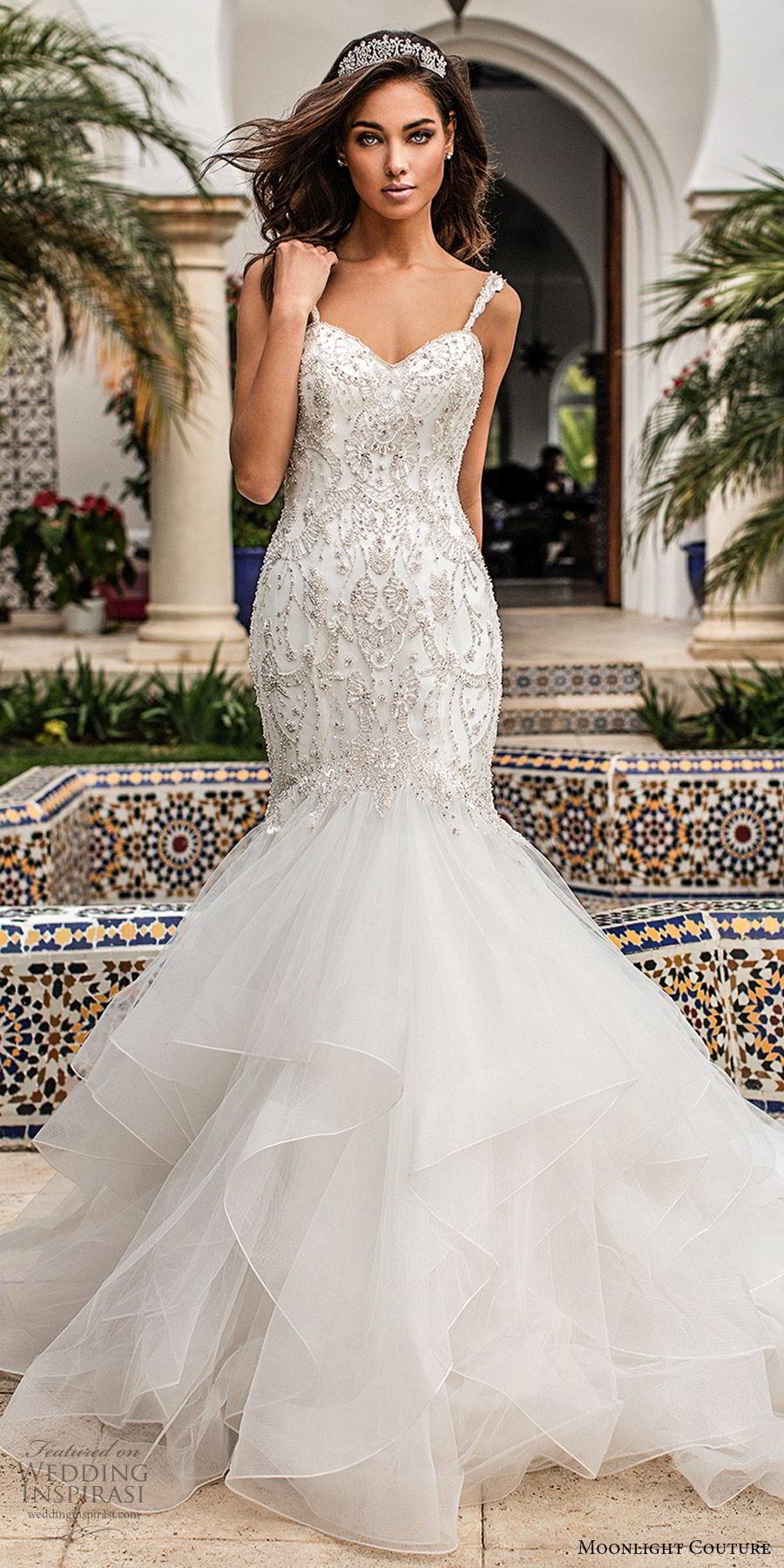 moonlight couture fall 2019 bridal sleeveless beaded sleeves sweetheart embellished bodice ruffle skirt fit flare mermaid wedding dress (11) glitzy elegant romantic chapel train mv