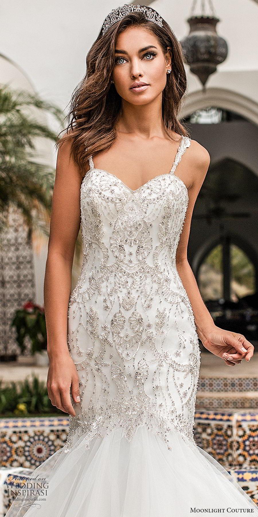 moonlight couture fall 2019 bridal sleeveless beaded sleeves sweetheart embellished bodice ruffle skirt fit flare mermaid wedding dress (11) glitzy elegant romantic chapel train zv