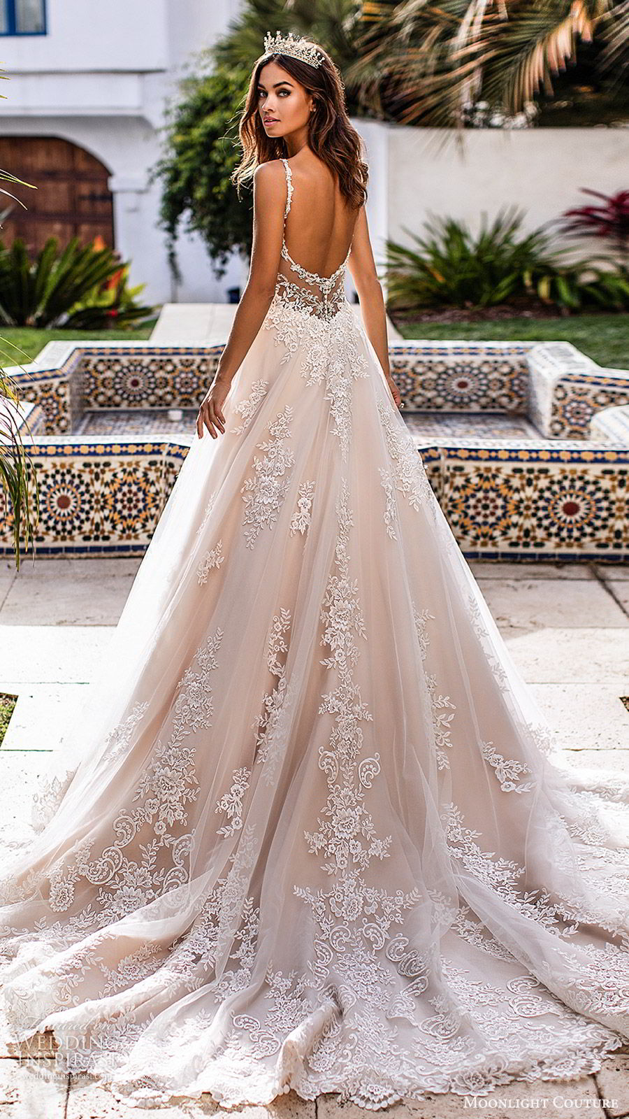 moonlight couture fall 2019 bridal sleeveless beaded straps sweetheart neckline embellished bodice a line ball gown wedding dress (3) romantic elegant princess chapel train low sheer back bv