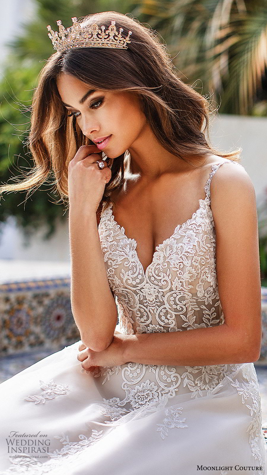 moonlight couture fall 2019 bridal sleeveless beaded straps sweetheart neckline embellished bodice a line ball gown wedding dress (3) romantic elegant princess chapel train low sheer back zv