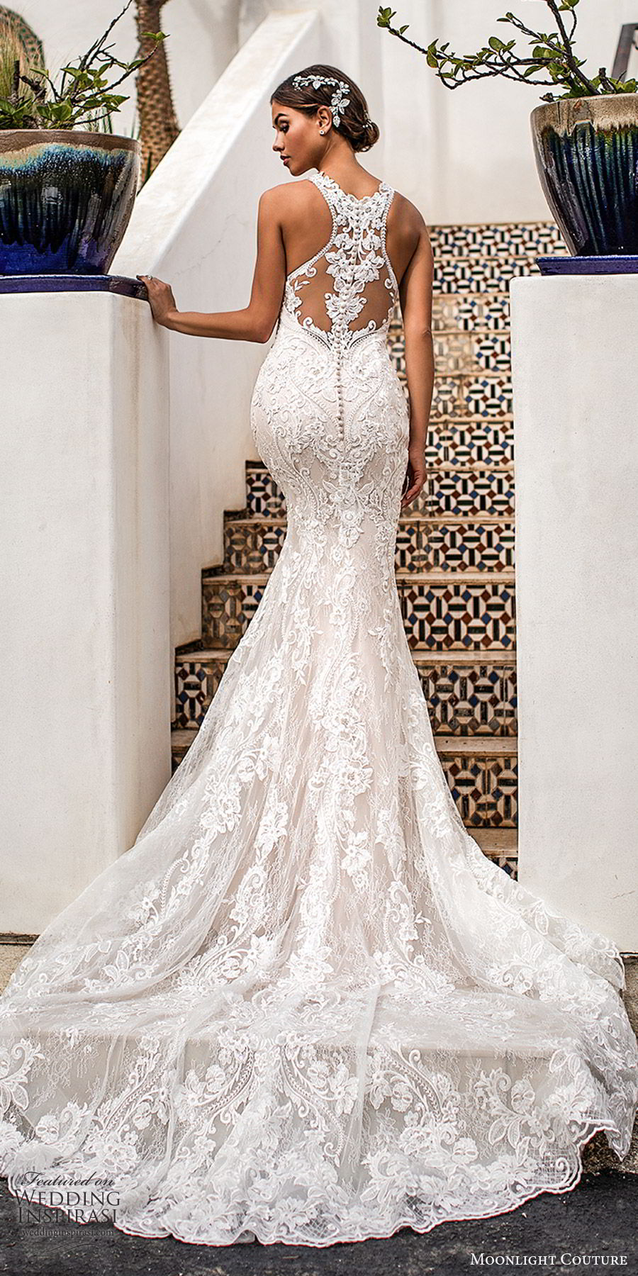 moonlight couture fall 2019 bridal sleeveless illusion hatler neckline fully embellished lace sheath mermaid wedding dress (6) glitzy glam elegant illusion back chapel train bv