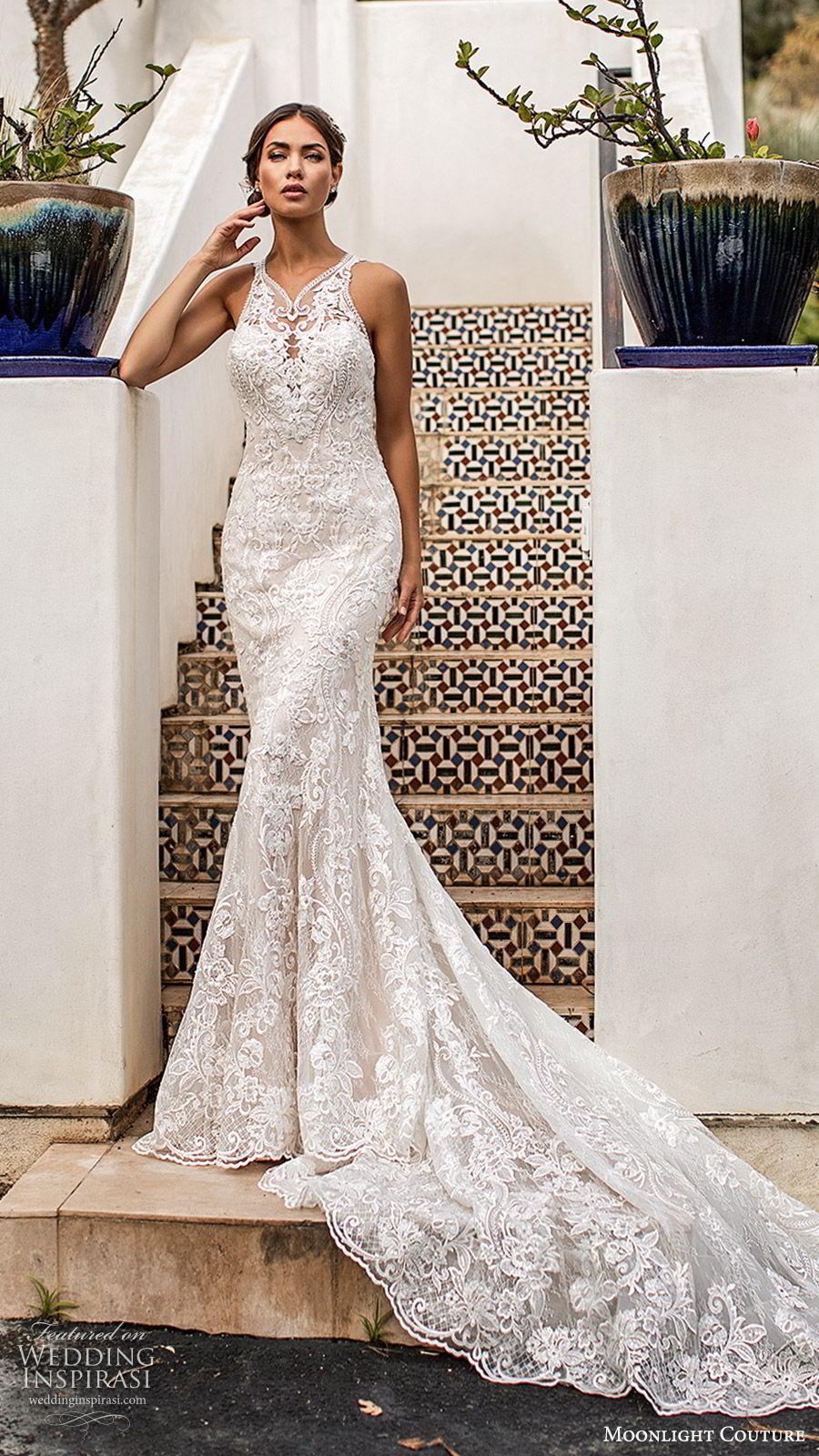 moonlight couture fall 2019 bridal sleeveless illusion hatler neckline fully embellished lace sheath mermaid wedding dress (6) glitzy glam elegant illusion back chapel train mv