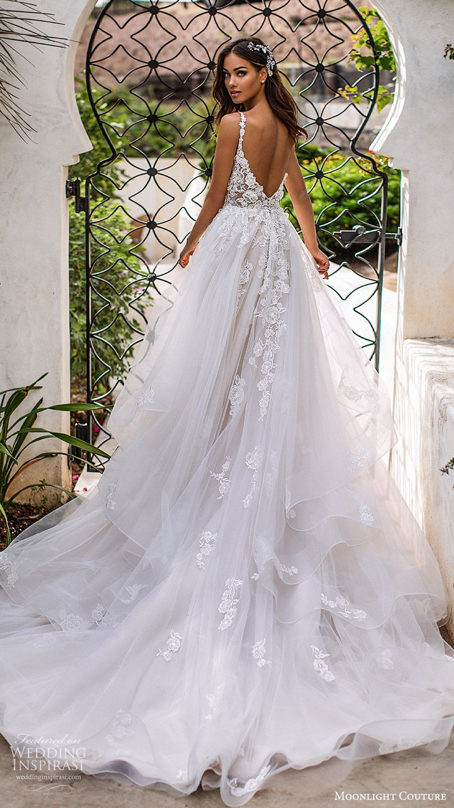 moonlight couture fall 2019 bridal sleeveless lace straps sweetheart neckline embellished bodice a line ball gown wedding dress (1) romantic princess tiered skirt chapel train blush bv