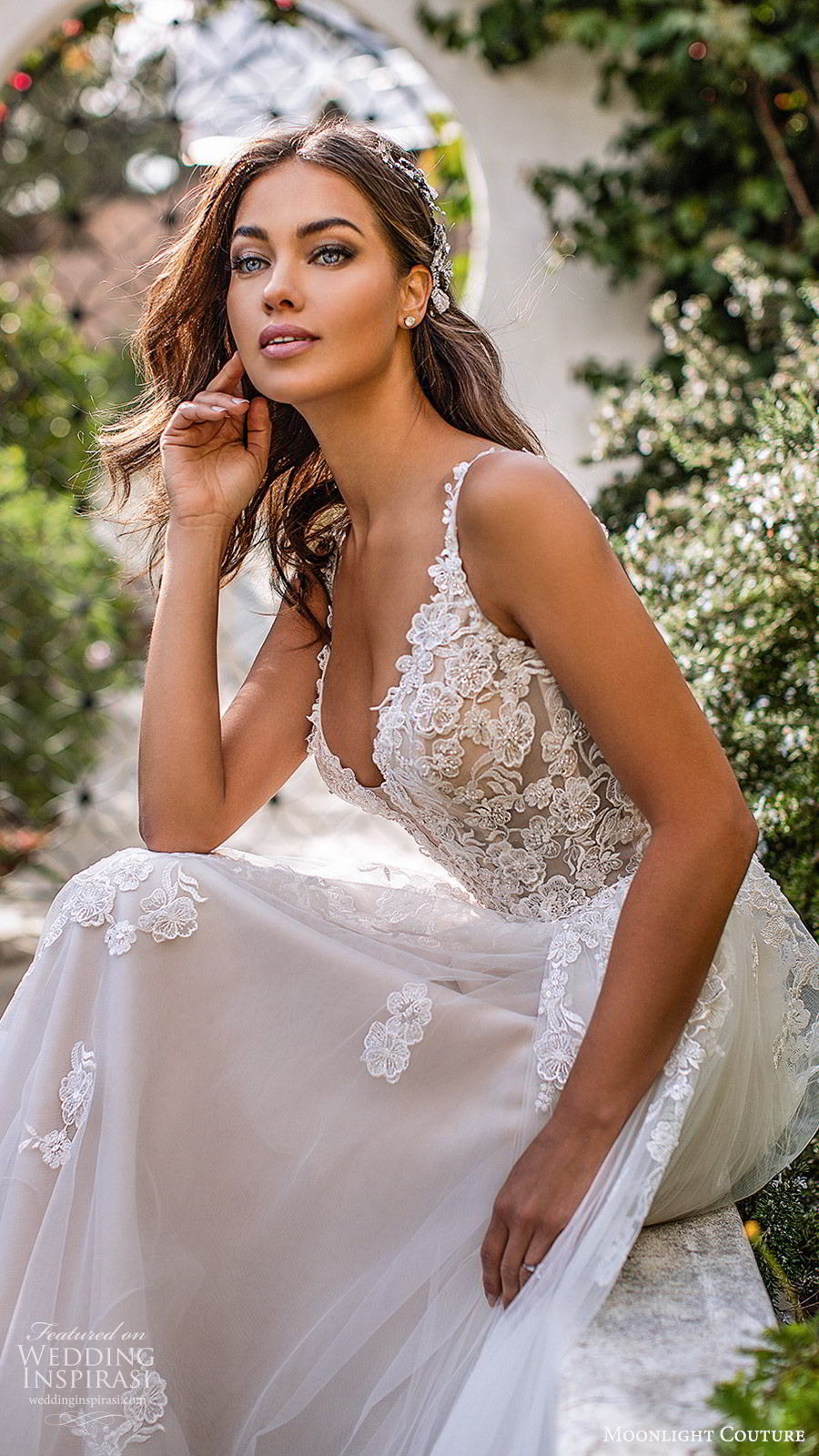 moonlight couture fall 2019 bridal sleeveless lace straps sweetheart neckline embellished bodice a line ball gown wedding dress (1) romantic princess tiered skirt chapel train blush zsv