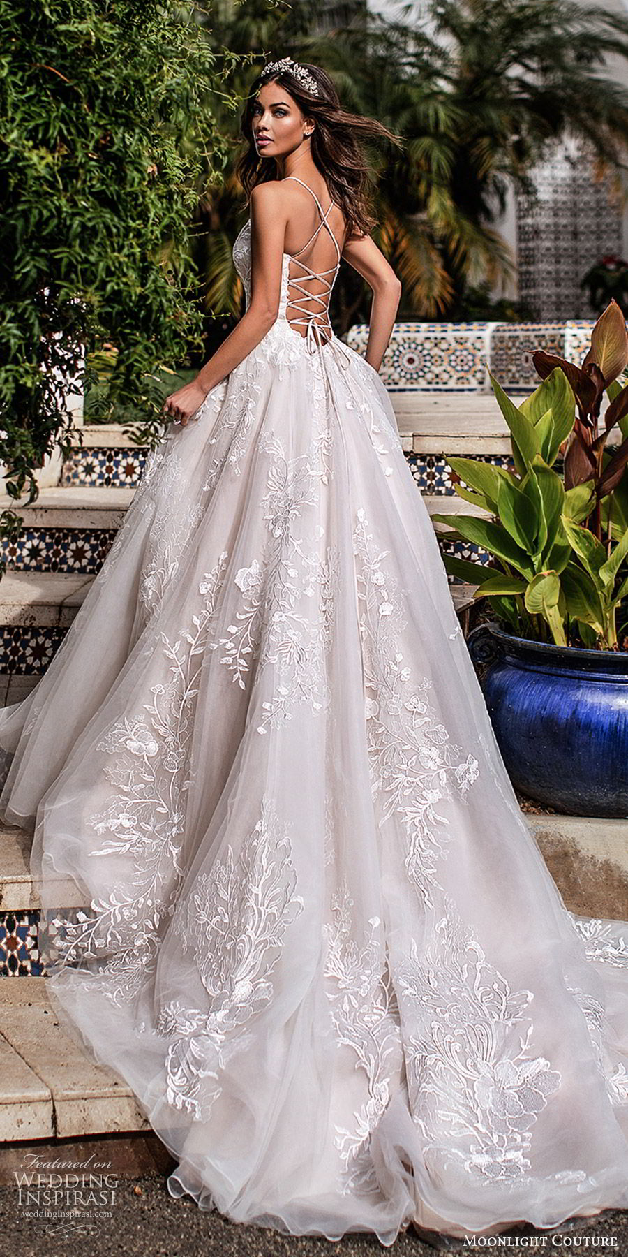 moonlight couture fall 2019 bridal sleeveless thin straps split sweetheart neckline fully embellished a line ball gown wedding dress (9) romantic princess chapel train open back bv