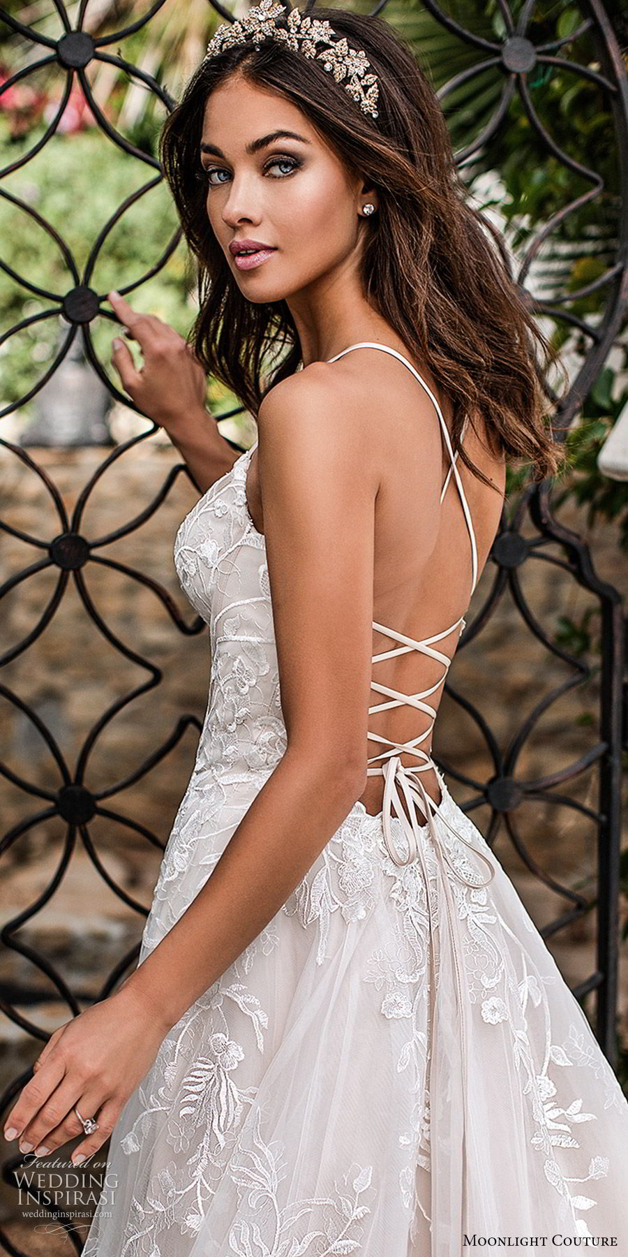 moonlight couture fall 2019 bridal sleeveless thin straps split sweetheart neckline fully embellished a line ball gown wedding dress (9) romantic princess chapel train open back zbv