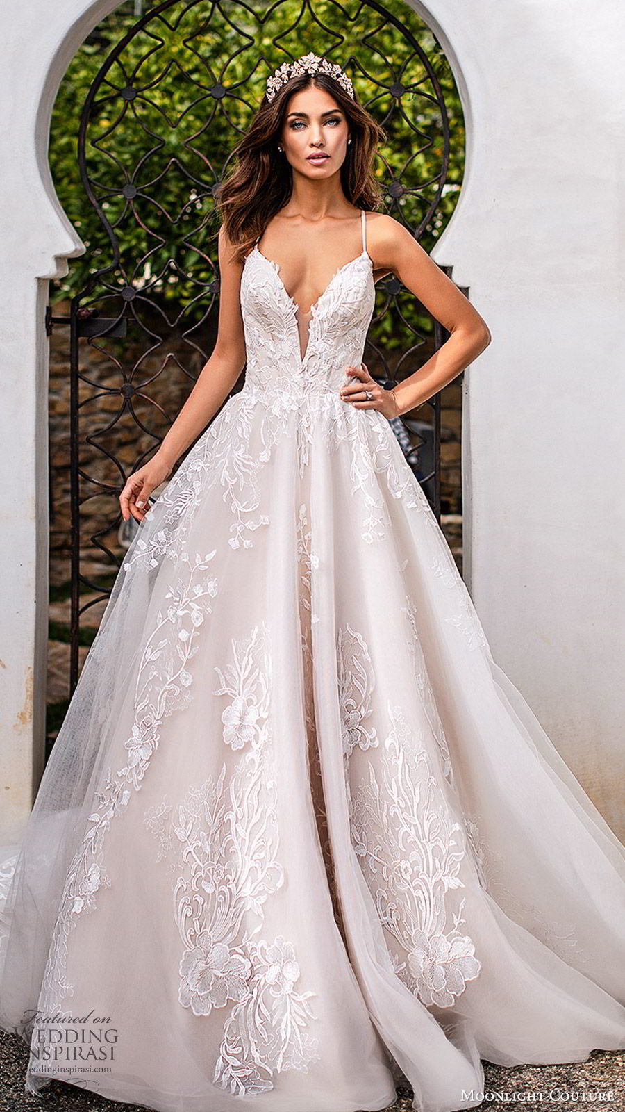 moonlight couture fall 2019 bridal sleeveless thin straps split sweetheart neckline fully embellished a line ball gown wedding dress (9) romantic princess low back chapel train mv
