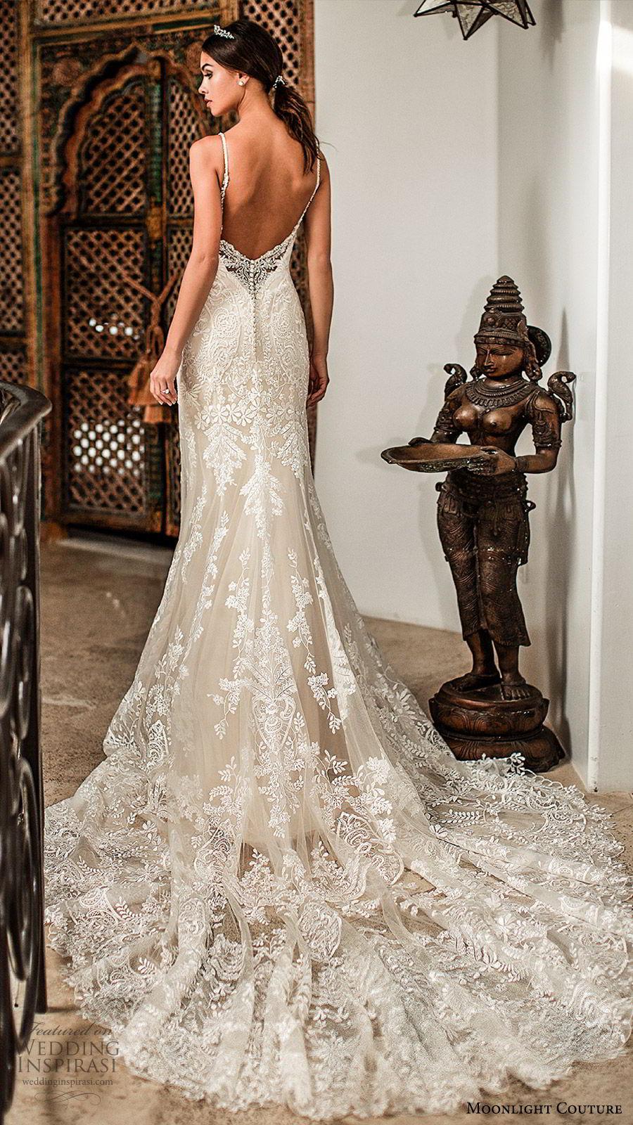 moonlight couture fall 2019 bridal sleeveless thin straps v neckline fully embellished lace sheath fit flare mermaid wedding dress (4) elegant low back chapel train champagne bv