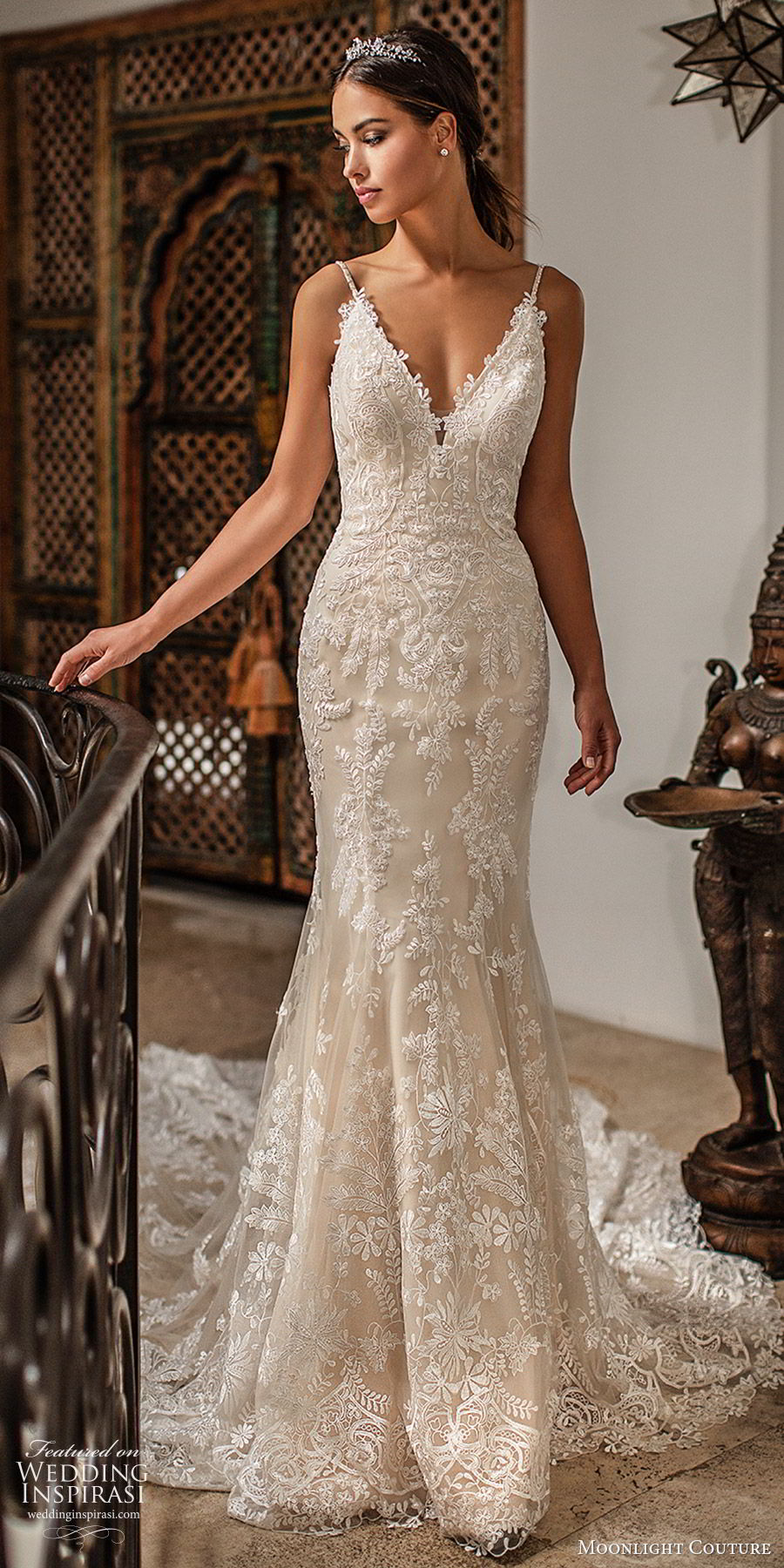 moonlight couture fall 2019 bridal sleeveless thin straps v neckline fully embellished lace sheath fit flare mermaid wedding dress (4) elegant low back chapel train champagne mv