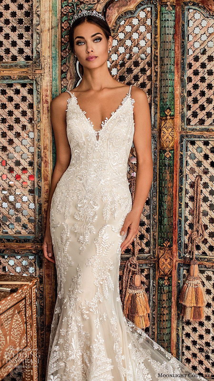moonlight couture fall 2019 bridal sleeveless thin straps v neckline fully embellished lace sheath fit flare mermaid wedding dress (4) elegant low back chapel train champagne zv