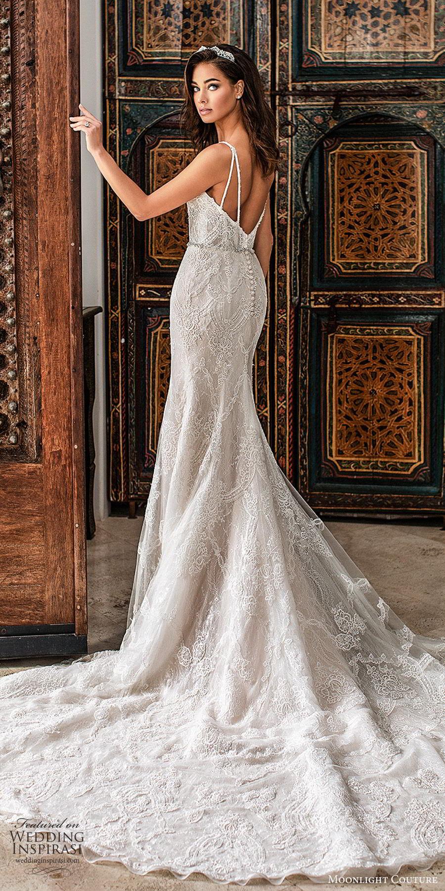 moonlight couture fall 2019 bridal sleeveless thin straps v neckling fully embellished lace sheath wedding dress (5) glam elegant sophisticated chapel train low back bv