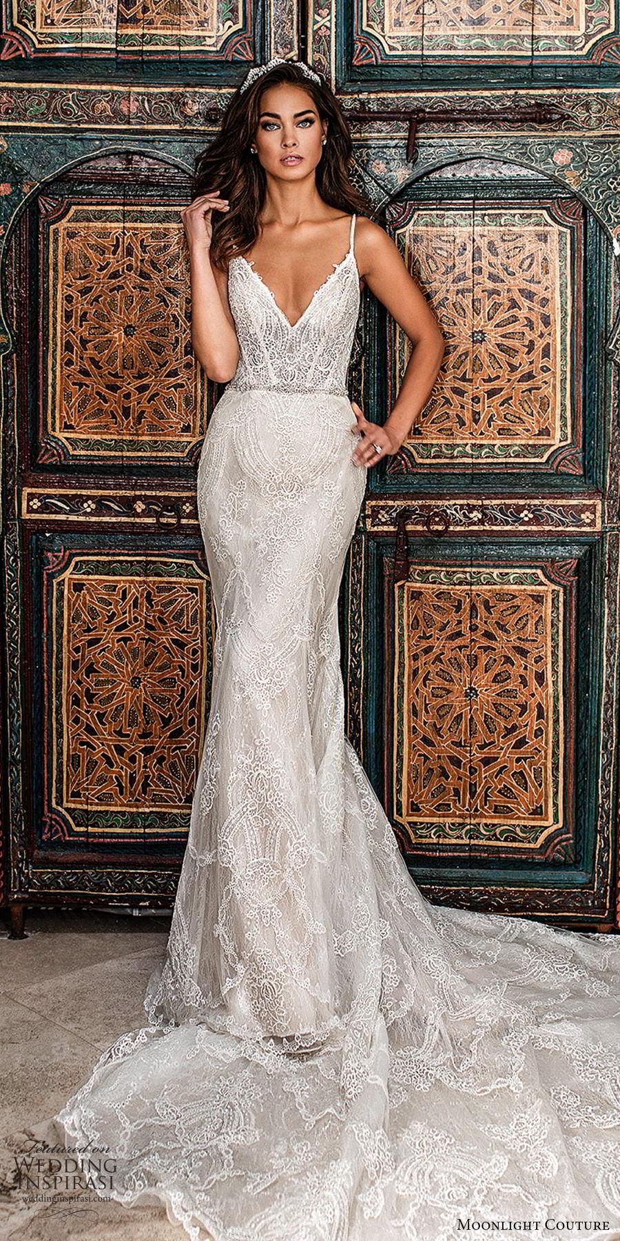 moonlight couture fall 2019 bridal sleeveless thin straps v neckling fully embellished lace sheath wedding dress (5) glam elegant sophisticated chapel train low back mv
