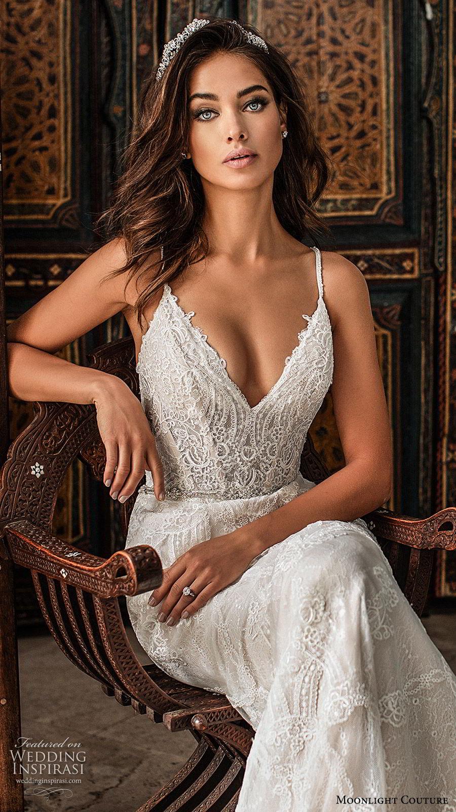 moonlight couture fall 2019 bridal sleeveless thin straps v neckling fully embellished lace sheath wedding dress (5) glam elegant sophisticated chapel train low back zv