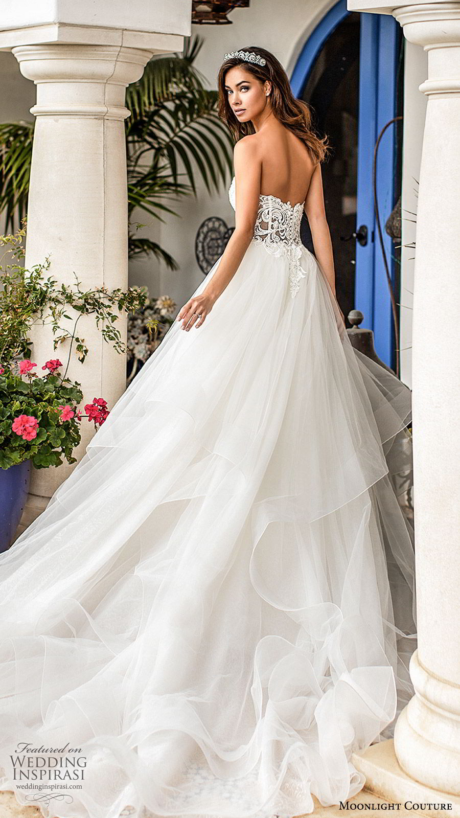 moonlight couture fall 2019 bridal strapless sweetheart embellished bodice tiered skirt a line ball gown wedding dress (10) romantic princess chapel train bv