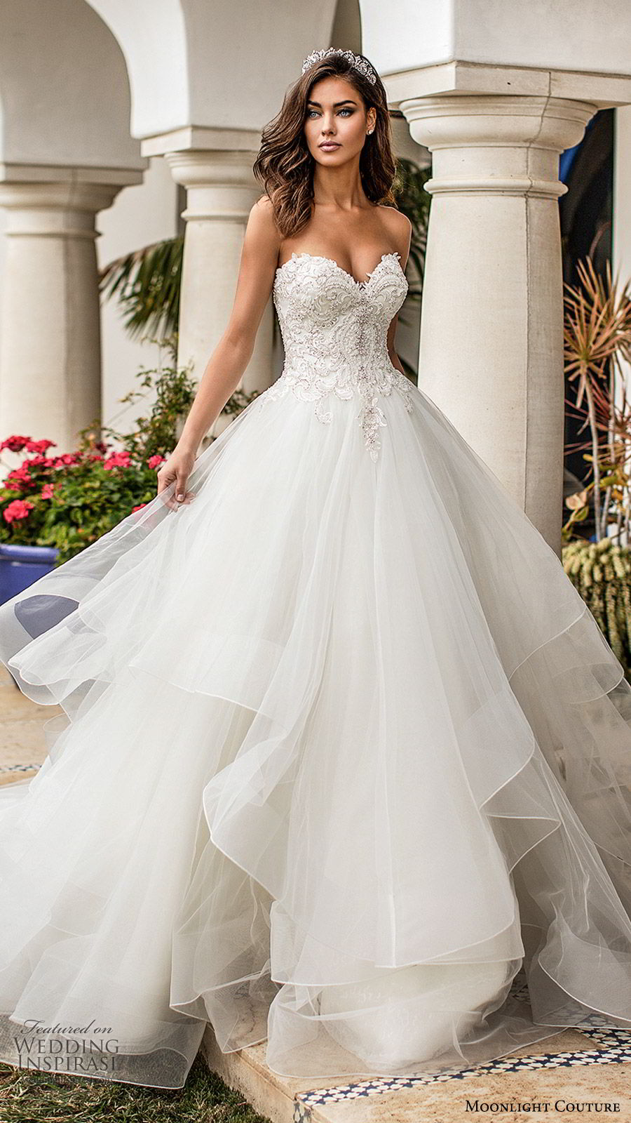 moonlight couture fall 2019 bridal strapless sweetheart embellished bodice tiered skirt a line ball gown wedding dress (10) romantic princess chapel train mv