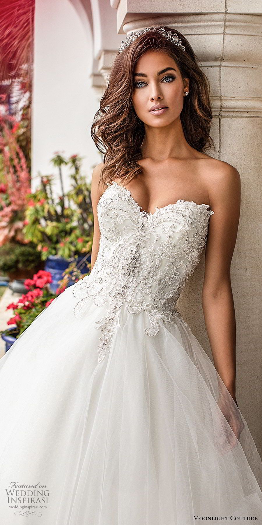 moonlight couture fall 2019 bridal strapless sweetheart embellished bodice tiered skirt a line ball gown wedding dress (10) romantic princess chapel train zv