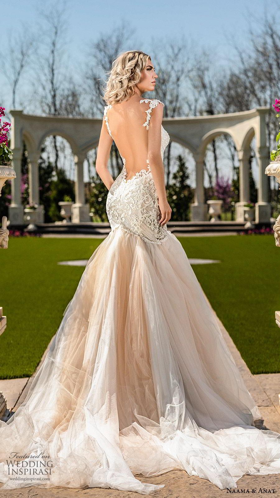 naama anat spring 2020 bridal cap sleeves split sweetheart neckline lace bodice ruffle skirt mermaid wedding dress (2) romantic chapel train open back blush bv