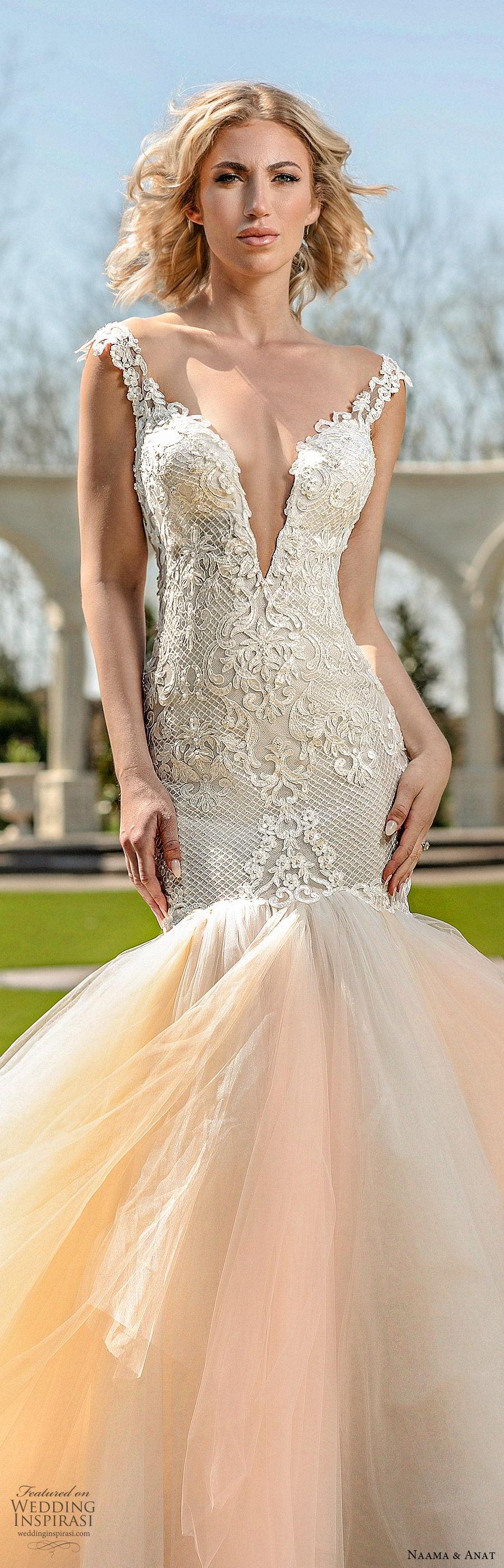 naama anat spring 2020 bridal cap sleeves split sweetheart neckline lace bodice ruffle skirt mermaid wedding dress (2) romantic chapel train open back blush lv