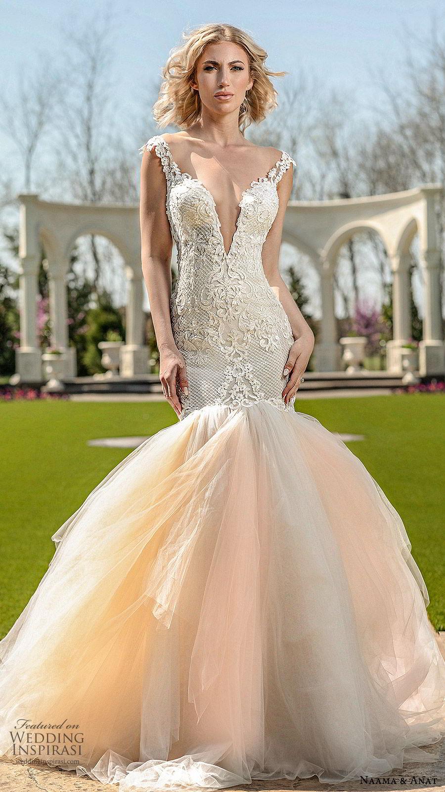 naama anat spring 2020 bridal cap sleeves split sweetheart neckline lace bodice ruffle skirt mermaid wedding dress (2) romantic chapel train open back blush mv