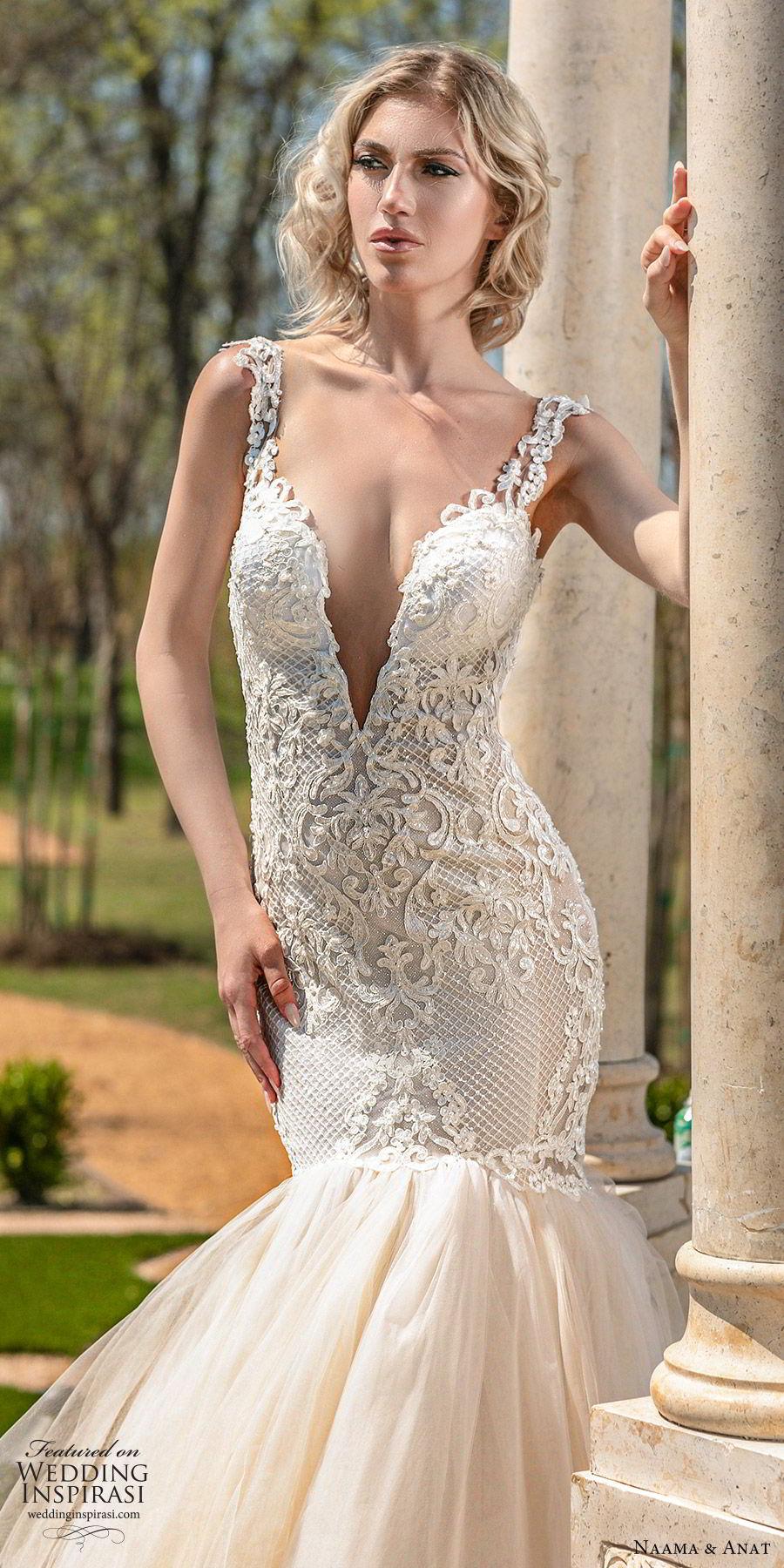 naama anat spring 2020 bridal cap sleeves split sweetheart neckline lace bodice ruffle skirt mermaid wedding dress (2) romantic chapel train open back blush zv