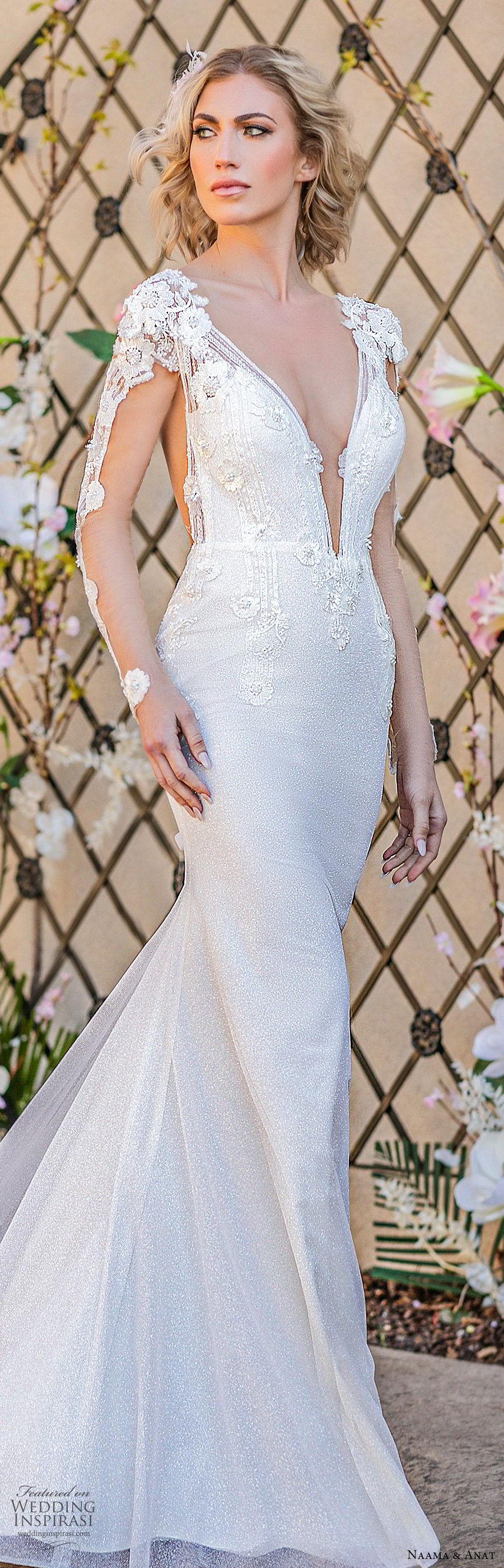 naama anat spring 2020 bridal illusion long sleeves split deep v neckline fully embellished sheath wedding dress (4) sheer back chapel train elegant glam lv