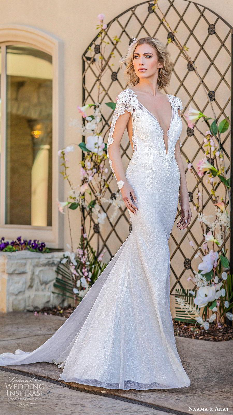 naama anat spring 2020 bridal illusion long sleeves split deep v neckline fully embellished sheath wedding dress (4) sheer back chapel train elegant glam mv