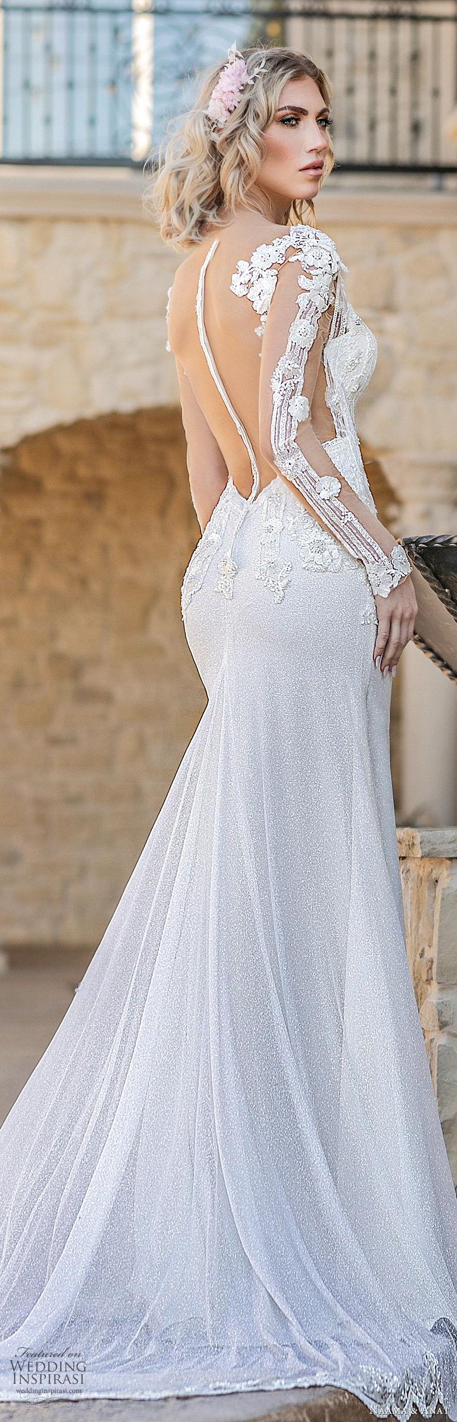 naama anat spring 2020 bridal illusion long sleeves split deep v neckline fully embellished sheath wedding dress (4) sheer back chapel train elegant glam zbv