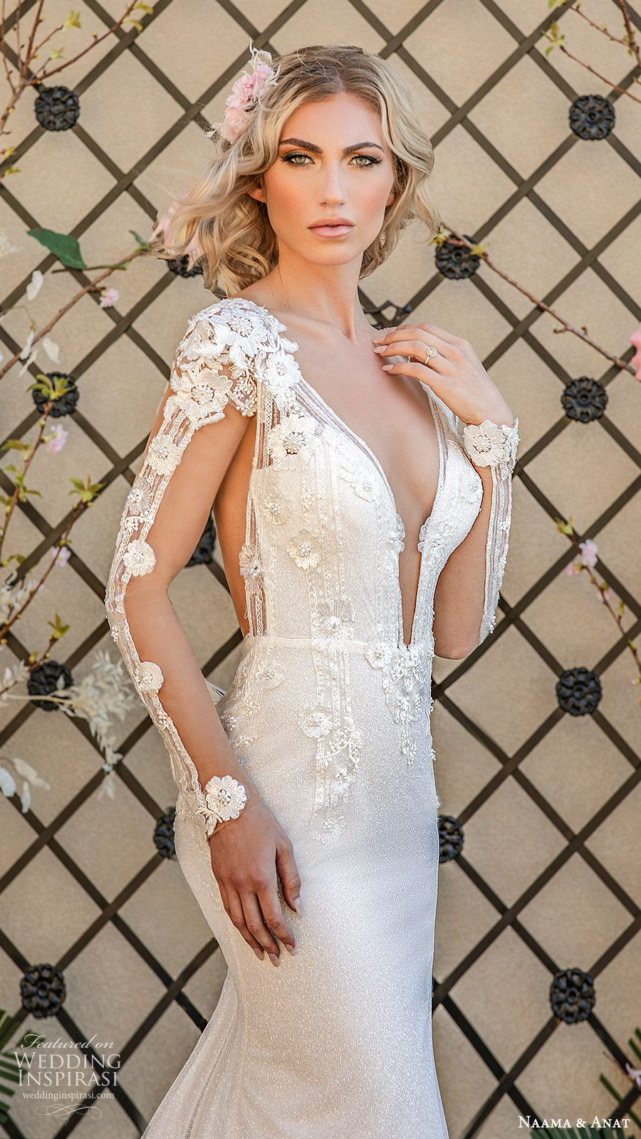 naama anat spring 2020 bridal illusion long sleeves split deep v neckline fully embellished sheath wedding dress (4) sheer back chapel train elegant glam zv