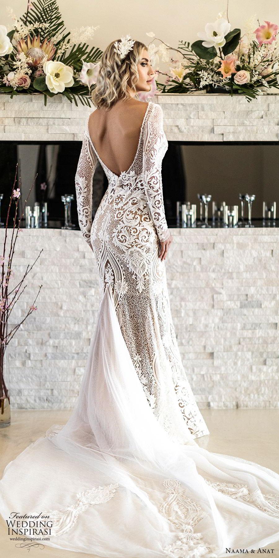 naama anat spring 2020 bridal long sleeves split sweetheart neckline lace sheath mermaid wedding dress (1) elegant modern low back chapel train bv