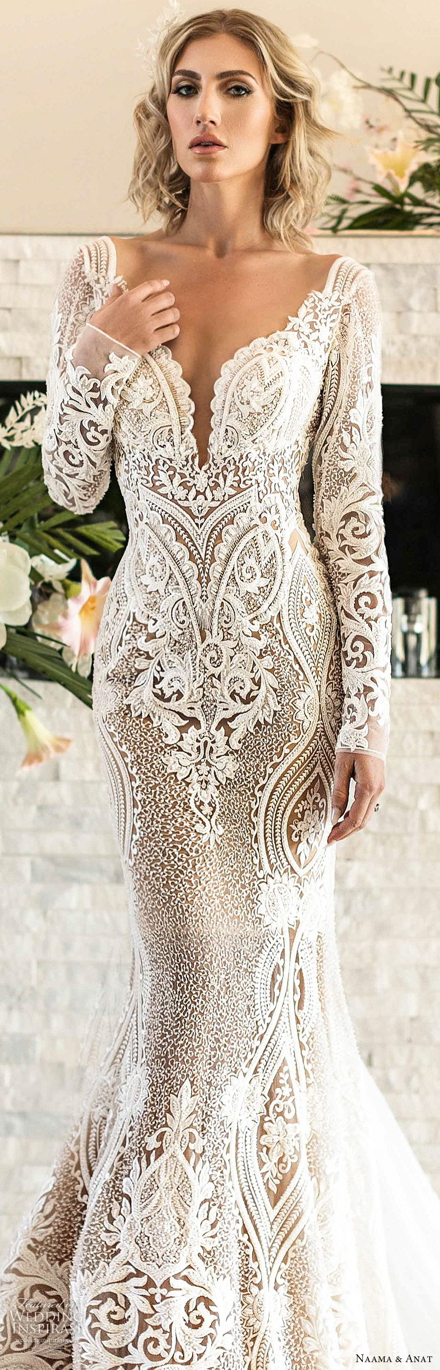 naama anat spring 2020 bridal long sleeves split sweetheart neckline lace sheath mermaid wedding dress (1) elegant modern low back chapel train lv