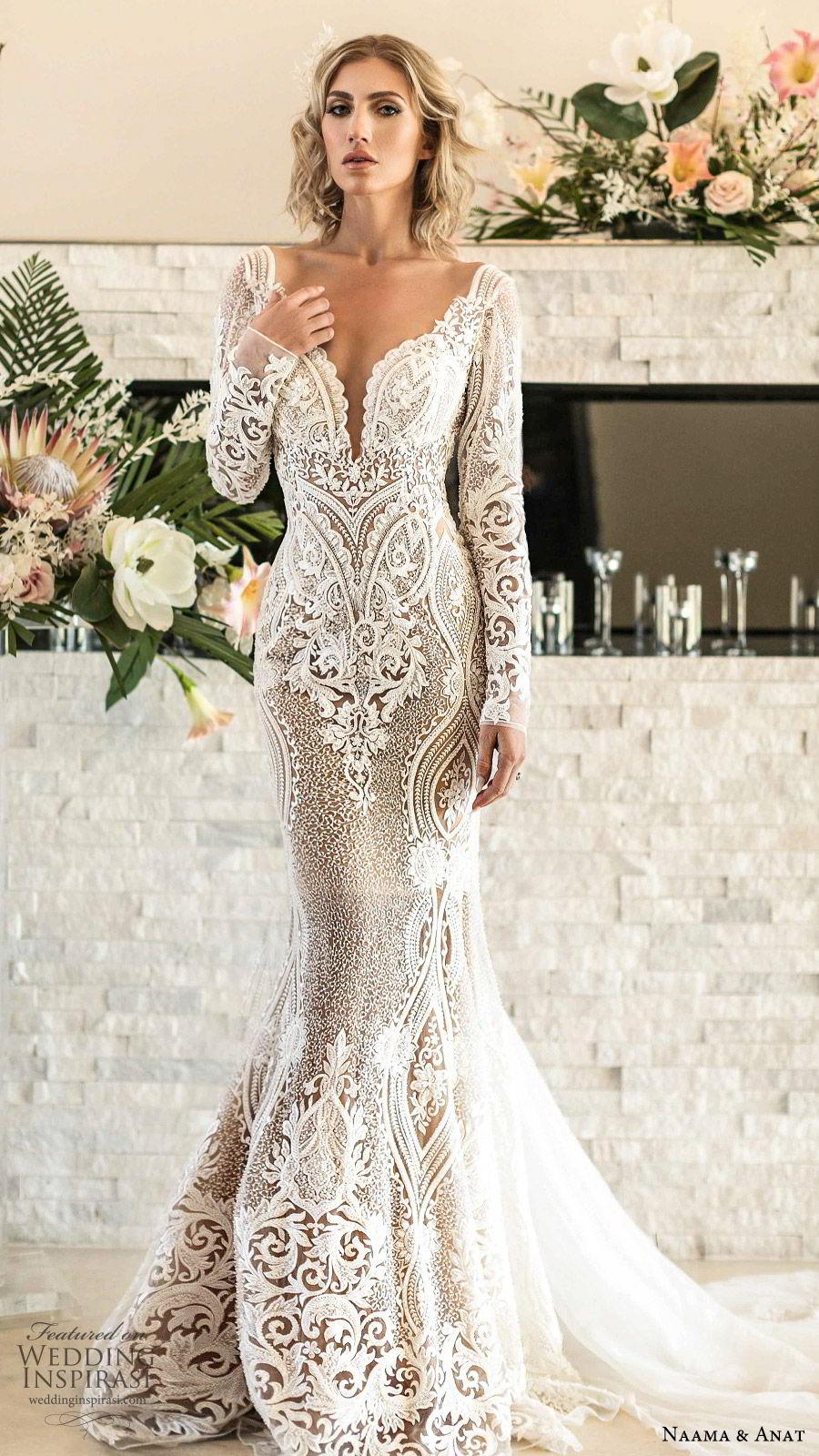 naama anat spring 2020 bridal long sleeves split sweetheart neckline lace sheath mermaid wedding dress (1) elegant modern low back chapel train mv