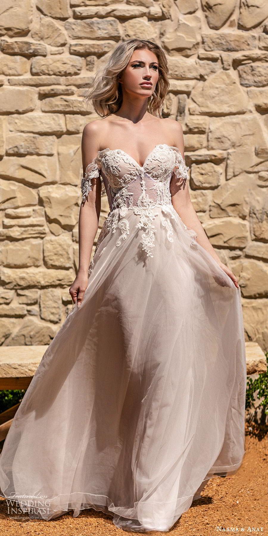 naama anat spring 2020 bridal off shoulder straps sweetheart neckline embellished bodice a line ball gown wedding dress (6) chapel train romantic blush mv