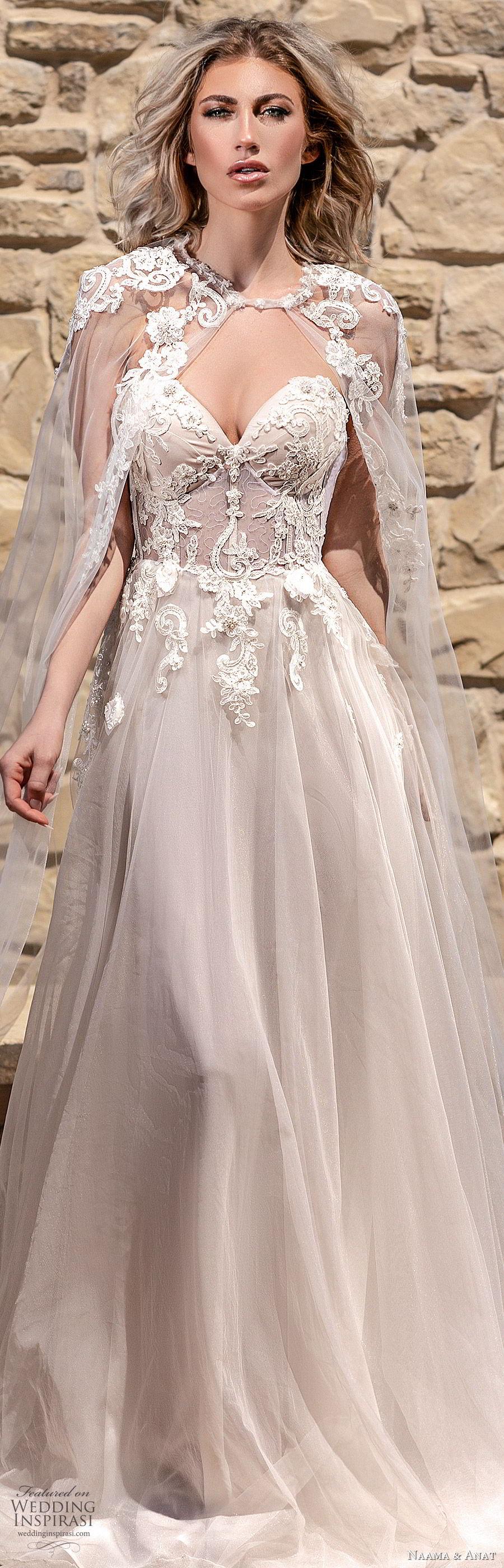naama anat spring 2020 bridal off shoulder straps sweetheart neckline embellished bodice a line ball gown wedding dress (6) sheer cape chapel train romantic blush lv