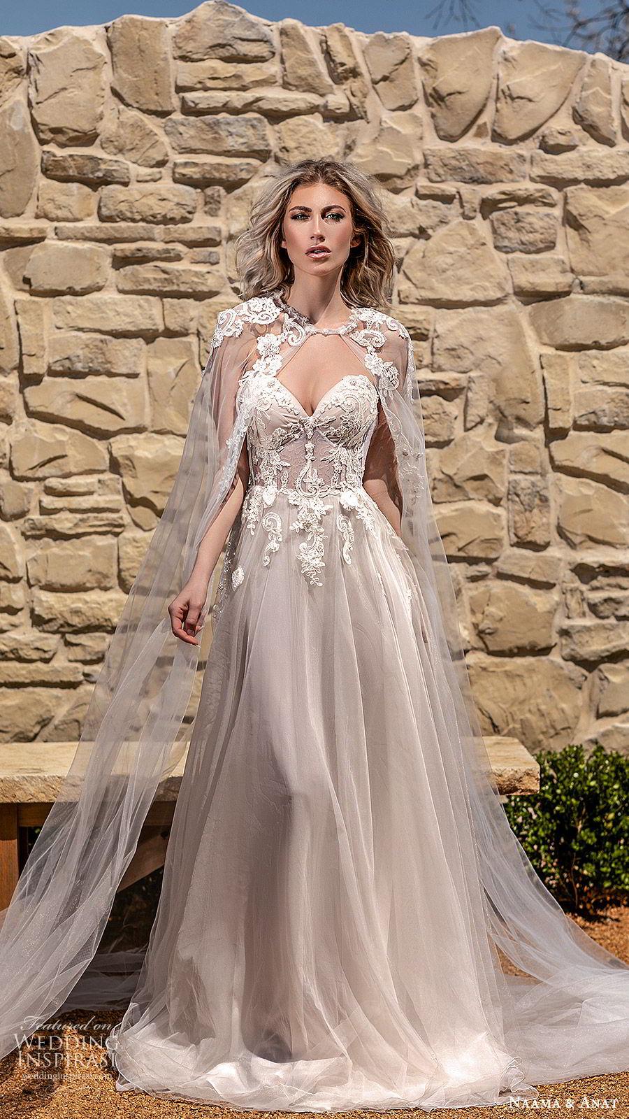 naama anat spring 2020 bridal off shoulder straps sweetheart neckline embellished bodice a line ball gown wedding dress (6) sheer cape chapel train romantic blush mv