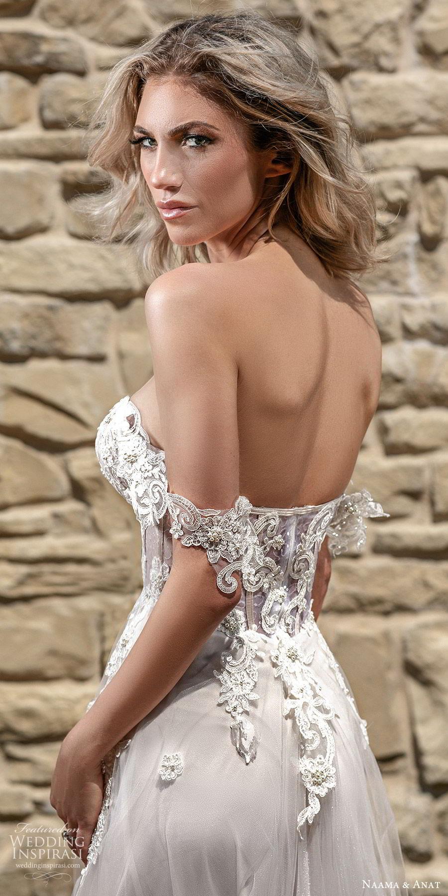 naama anat spring 2020 bridal off shoulder straps sweetheart neckline embellished bodice a line ball gown wedding dress (6) sheer cape chapel train romantic blush zbv