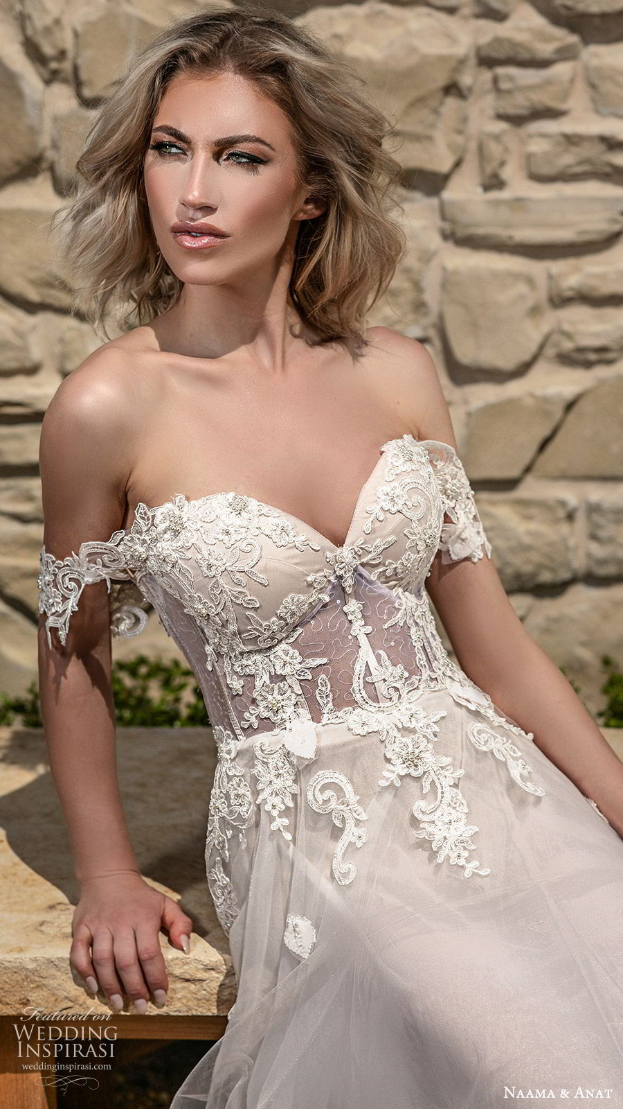 naama anat spring 2020 bridal off shoulder straps sweetheart neckline embellished bodice a line ball gown wedding dress (6) sheer cape chapel train romantic blush zv