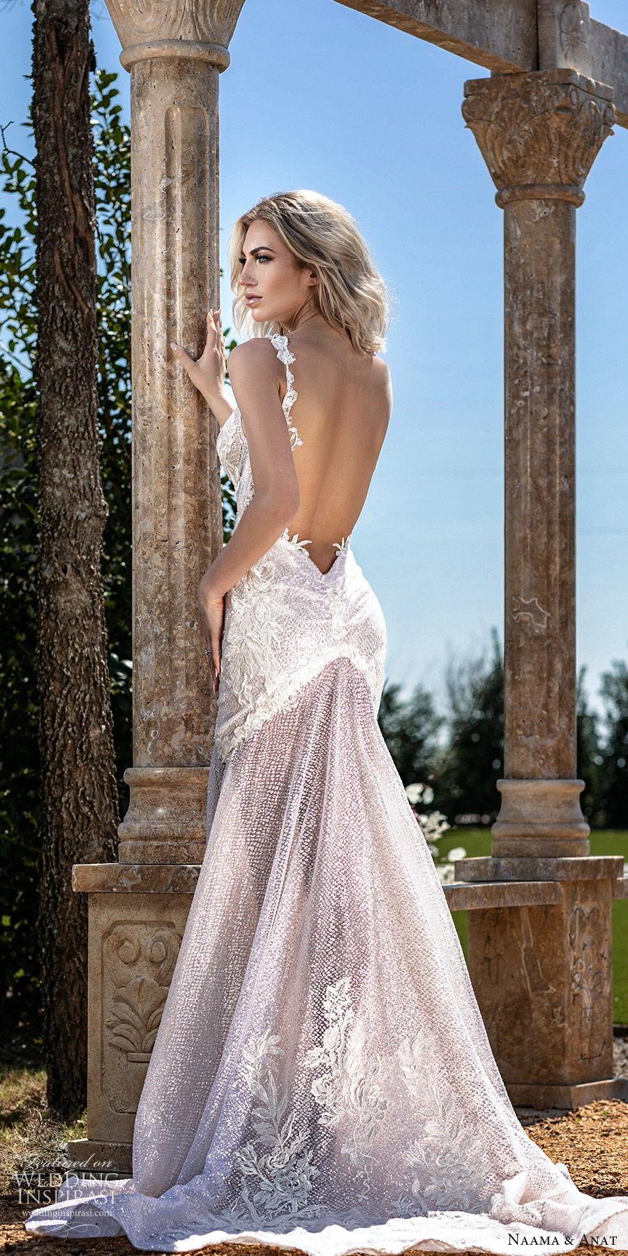 naama anat spring 2020 bridal sleeveless deep v neckline fit flare mermaid wedding dress (7) mv sheer low back chapel train sexy glamorours blush bv