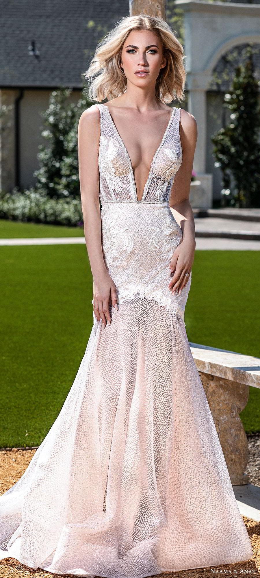 naama anat spring 2020 bridal sleeveless deep v neckline fit flare mermaid wedding dress (7) mv sheer low back chapel train sexy glamorours blush mv