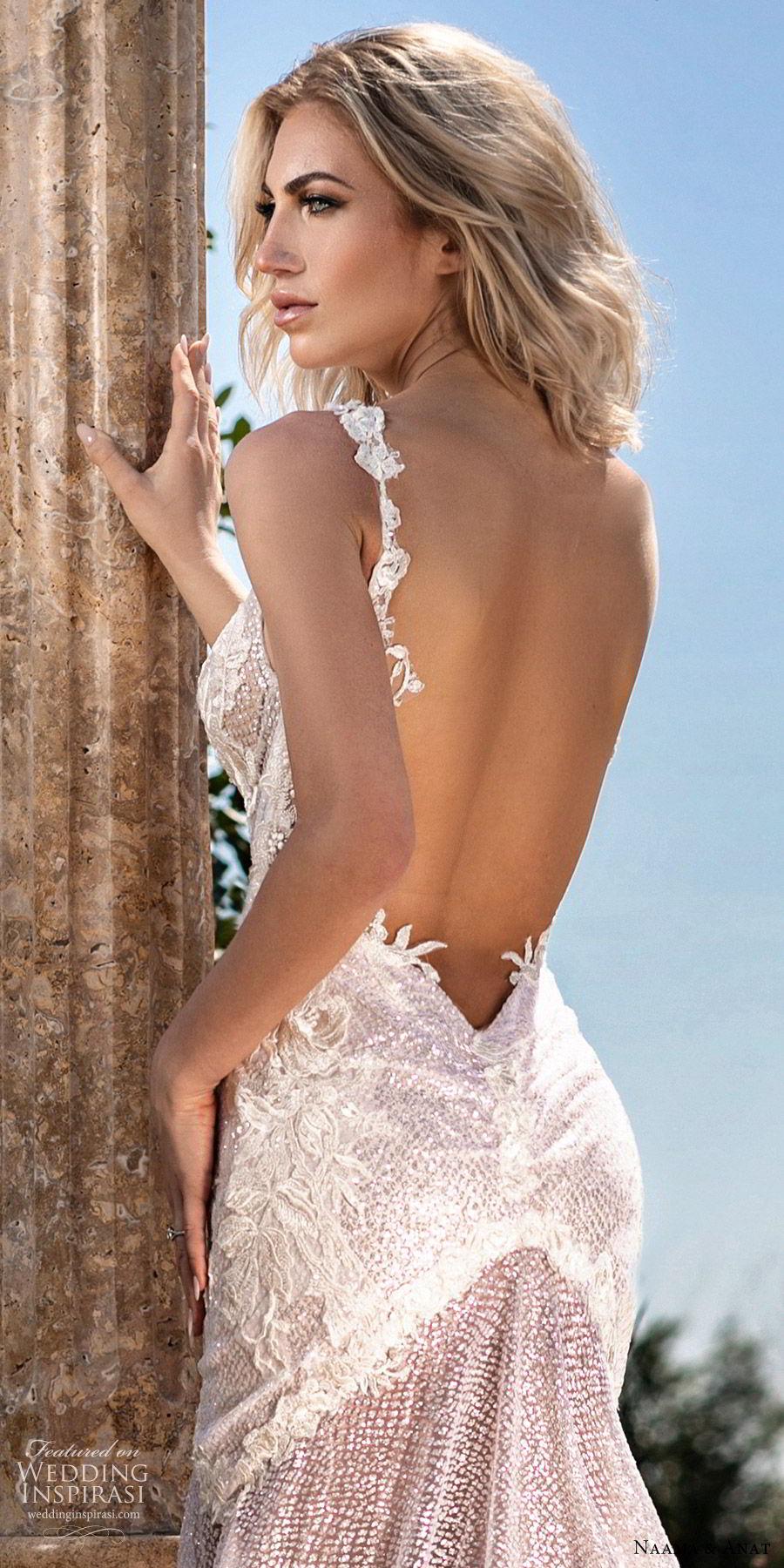 naama anat spring 2020 bridal sleeveless deep v neckline fit flare mermaid wedding dress (7) mv sheer low back chapel train sexy glamorours blush zbv