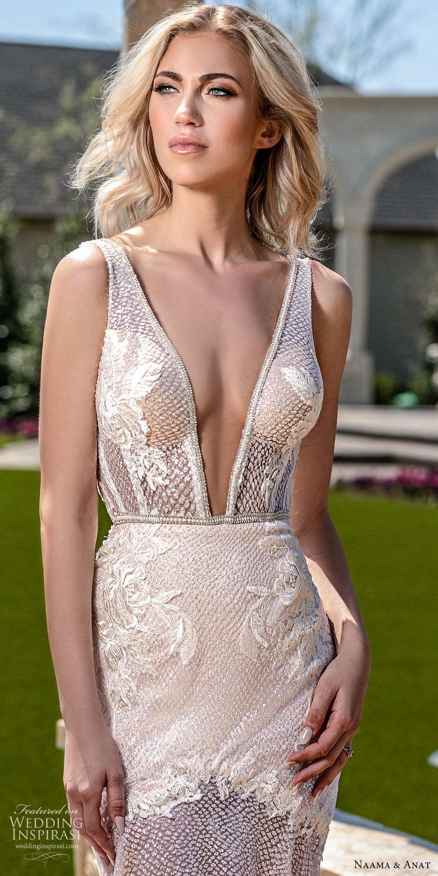 naama anat spring 2020 bridal sleeveless deep v neckline fit flare mermaid wedding dress (7) mv sheer low back chapel train sexy glamorours blush zv