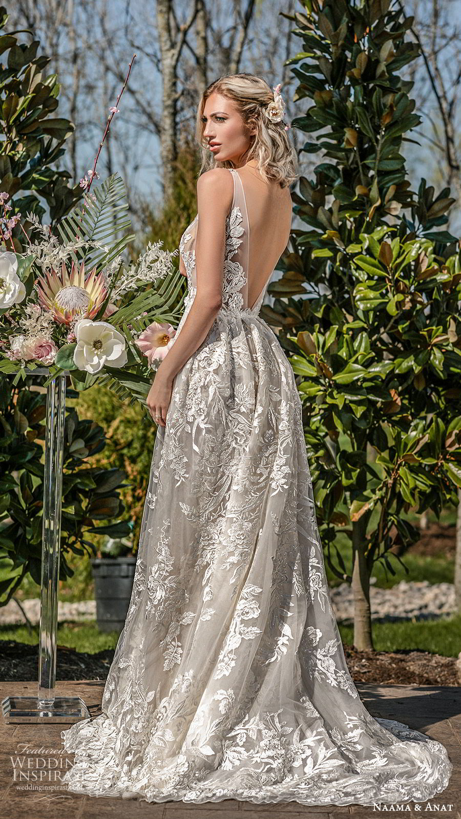 naama anat spring 2020 bridal sleeveless sheer straps deep v neckline illusion bodice fully embellished lace a line ball gown wedding dress (5) low back chapel train princess romantic bv
