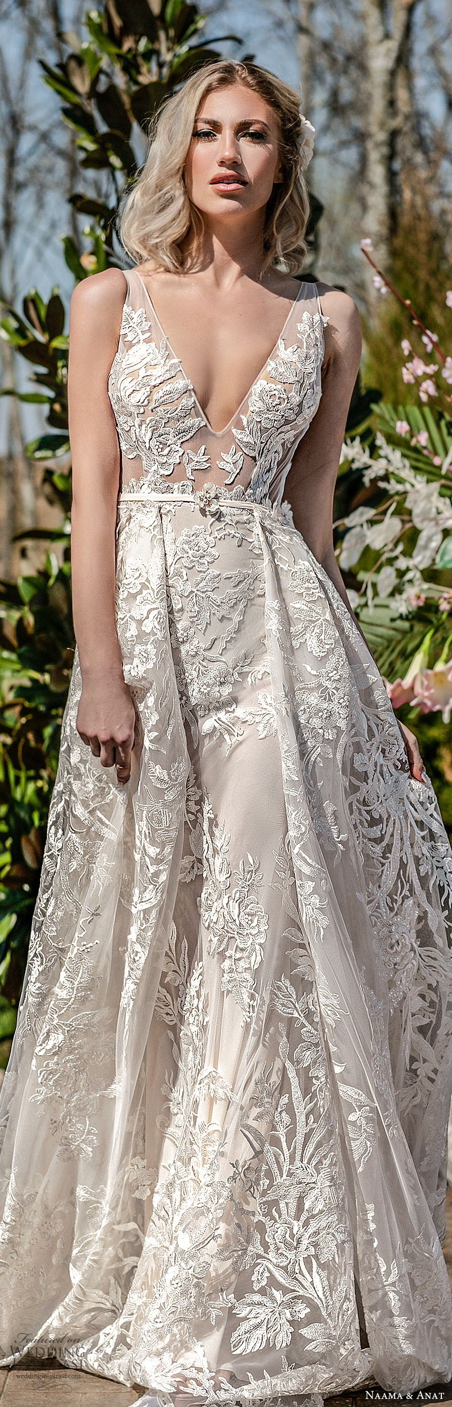 naama anat spring 2020 bridal sleeveless sheer straps deep v neckline illusion bodice fully embellished lace a line ball gown wedding dress (5) low back chapel train princess romantic lv