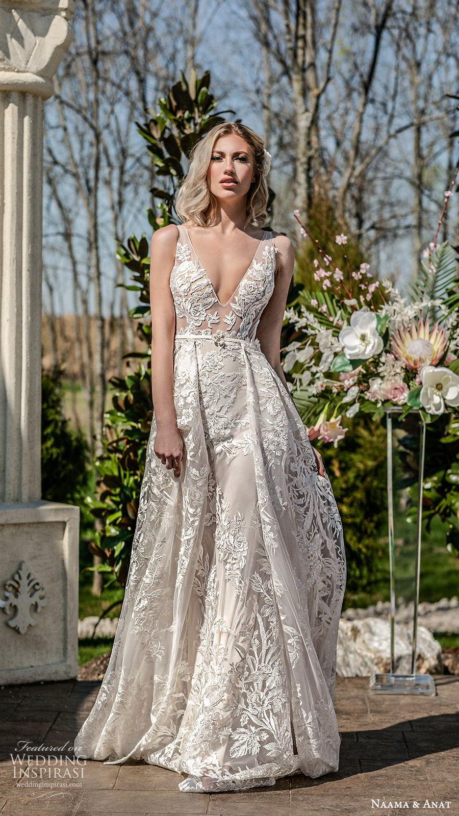 naama anat spring 2020 bridal sleeveless sheer straps deep v neckline illusion bodice fully embellished lace a line ball gown wedding dress (5) low back chapel train princess romantic mv