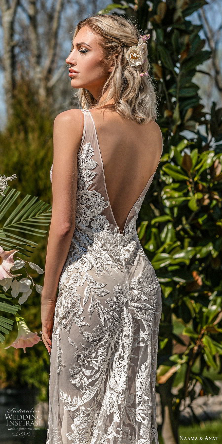 naama anat spring 2020 bridal sleeveless sheer straps deep v neckline illusion bodice fully embellished lace a line ball gown wedding dress (5) low back chapel train princess romantic zbv